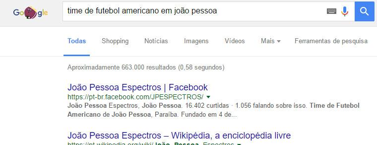 Exemplo de busca: João Pessoa Espectros